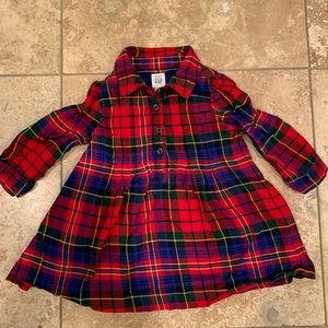 Baby Gap red plaid tunic shirt dress 12-18m